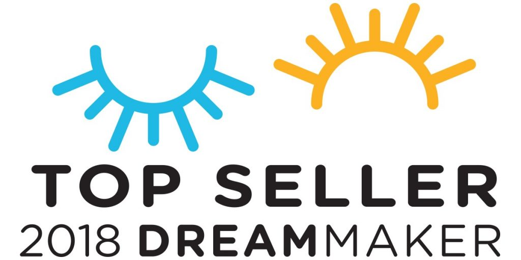 "A graphic logo indicating daytime and nightime above the text ""Top Seller 2018 Dreammaker"""